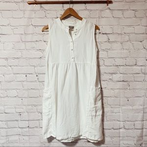 JJill white linen button down shift dress